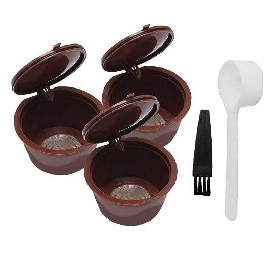 Filtro recargable de c/ápsula de caf/é reutilizable compatible con Nespresso con cuchara de caf/é 5pcs