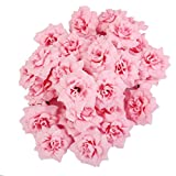 50 Roses Artificial Bridal Clips Wedding Decoration Flower Heads Pink
