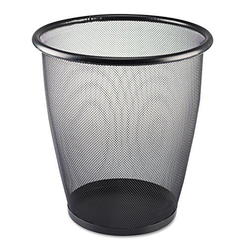 Safco 9717BL Onyx Round Mesh Wastebasket Steel Mesh 5gal - Round Wastebasket Mesh Onyx