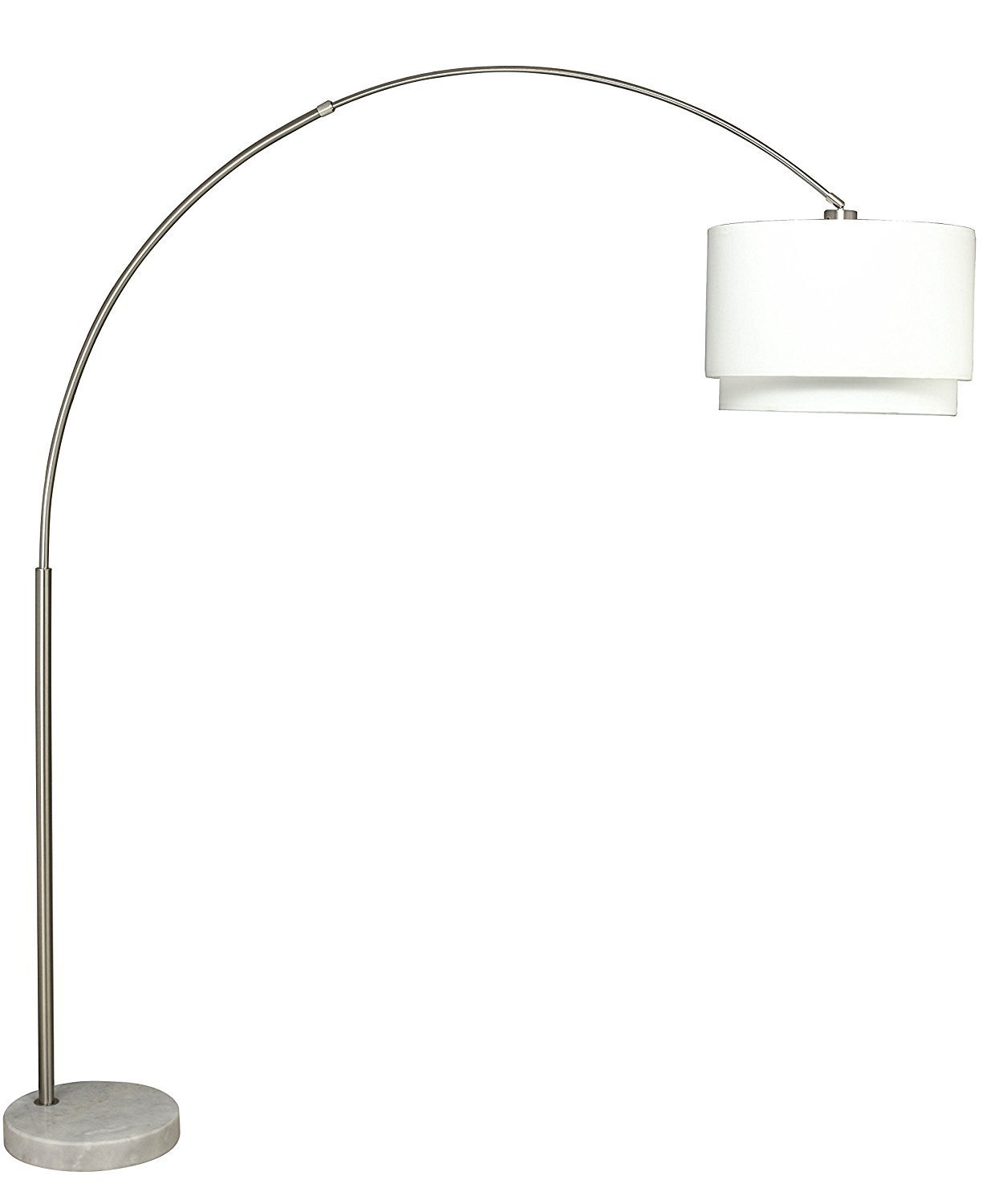 SH Lighting 6938DS-WH Steel Double Shade Adjustable Arching Floor Lamp with Marble Base, 81'' H