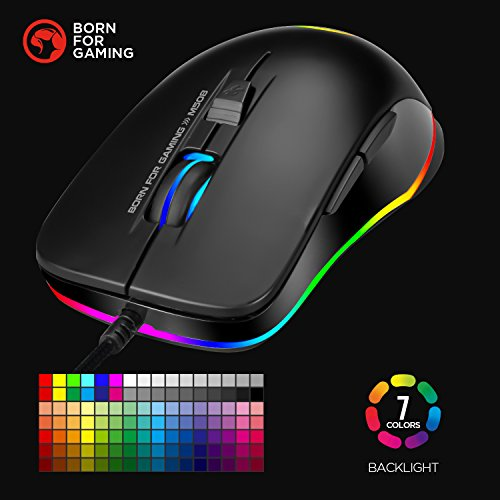 Gaming Mouse MARVO 7 Color LED Backlit Wired Mouse 3200 DPI 8 Button Ergonomic Design Mice Computer Gamer PC Gaming Mouse with Adjustable DPI LED Backlight Laptop Mouse Fit for PC//Laptops//Computer