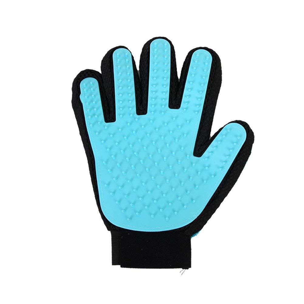 Chongwushua Pet Grooming Glove, Pet Hair Removal Mitts Massage Brush Tool with Adjustable Wrist Strap for All Short and Long Hair Pets (Size : Left)