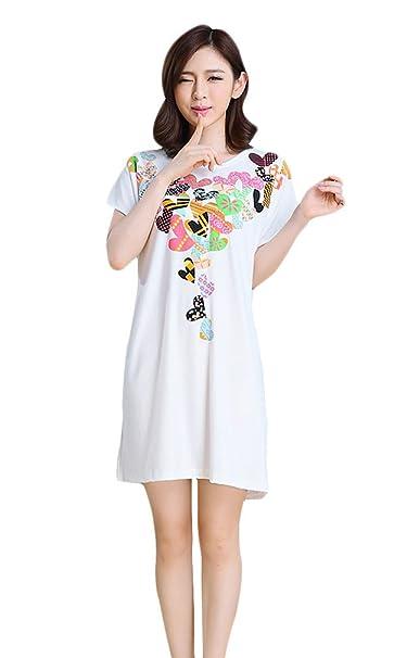 Adelina Camisón Mujer Tallas Grandes Elegante Verano Manga Corta Cuello Redondo Pijamas Mujer Niña Cute Impresión