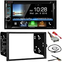 Kenwood DDX6703S 6.2 Double-DIN CD DVD Bluetooth Car Stereo Receiver Bundle Combo With Metra Installation Kit (Fits Most GM Vehicles) + Wire Harness + Enrock 22 Radio Antenna With Adapter