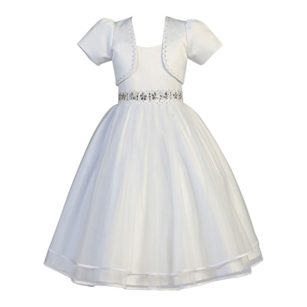 168aa989407 Amazon.com  Swea Pea   Lilli Lito Girls White Satin Organza Beaded Bolero Communion  Dress 6-20.5  Clothing
