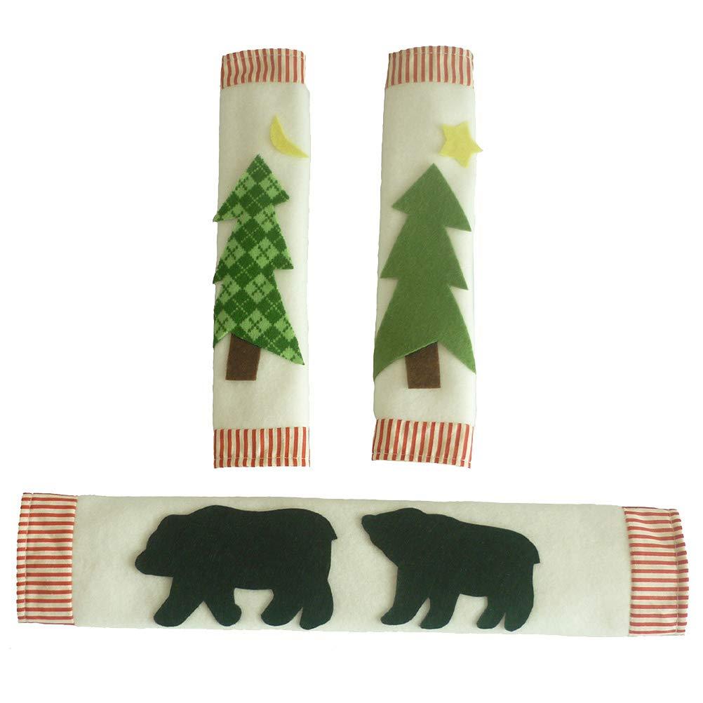 OUNONA 3Pcs Refrigerator Door Handle Covers Appliances Antiskid Protective Gloves Door Cloth for Fridge Christmas Decor