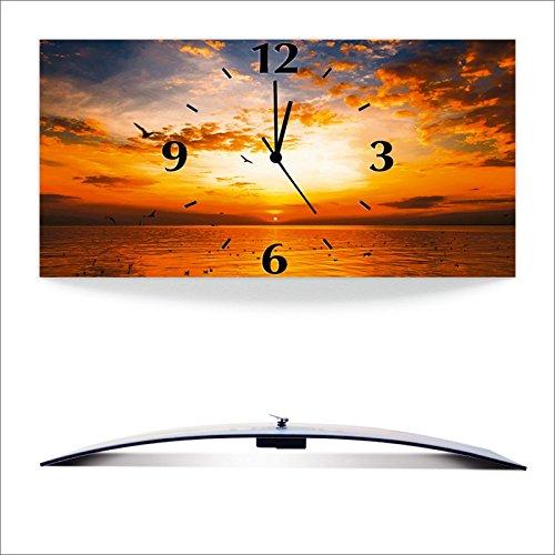 Artland 3D analoge Wand-Funk- oder Quarz-Uhr Digital-Druck auf Alu weiß mit Motiv Songchai W Sonnenuntergang am Strand mit wunderschönem Himmel Landschaften Sonnenaufgang -untergang Foto Orange A7QS