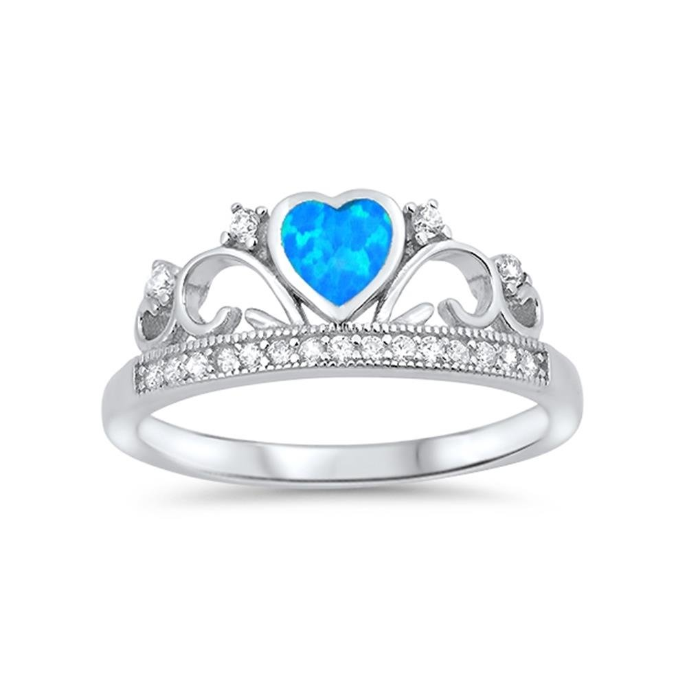8mm Choose Your Color Glitzs Jewels Sterling Silver Created Blue Opal /& Cubic Zirconia Heart Crown Ring
