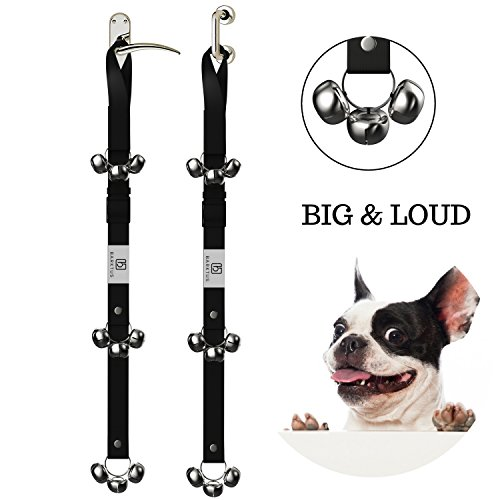 Potty Training Dog Bells Doorbells Housebreaking 9 Loud And Big Tinkle Jingle Bell For Housetraining Your Puppy. Adjustable Door Bell Strap And Step By Step Instructional Guide Included by Barktus