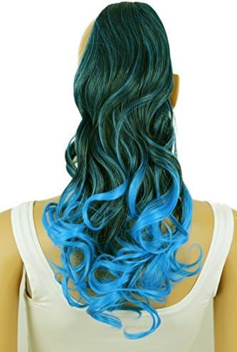 PRETTYSHOP Clip en las extensiones postizos ondulado de cabello pelo largo hechos de fibras sintéticas resistentes al calor azul claro negro # 1T4537 ...