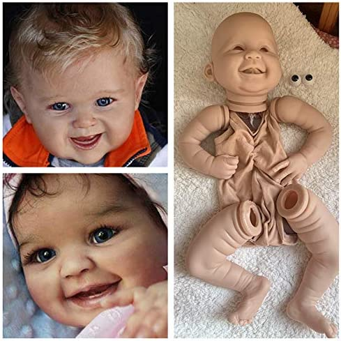 Silicone Reborn Doll Kits with Suede Cloth Body Acrylic Eyes DIY Baby Toys 22in