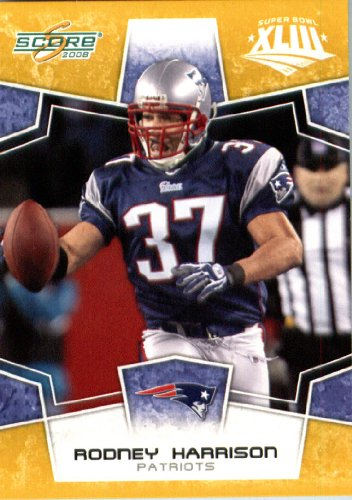 2008 Score SuperBowl Gold Parallel Edition (Limited to 800) Football Card IN SCREWDOWN CASE #190 Rodney Harrison ENCASED