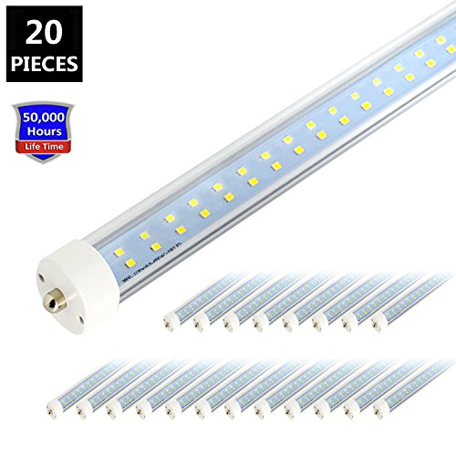JESLED T8/T10/T12 8FT LED Tube Light, Single Pin FA8 Base, 50W 6000LM, 5000K Daylight White, 96'' Dual Row LED Fluorescent Bulbs (130W Replacement), Clear Cover, Dual-Ended Power (Ballast Removal) by JESLED