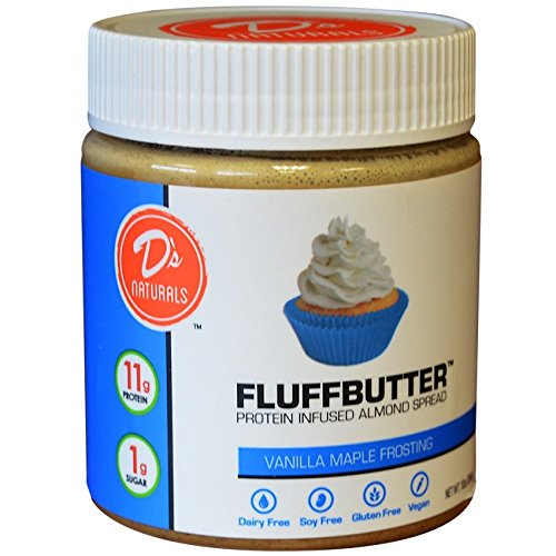 No Cow Almond Fluffbutter, Vanilla Maple Frosting, 10g Plant Based Protein, Low Sugar, Dairy Free, Gluten Free, Vegan, 10 Ounce(Bottle Packaging may ()