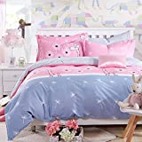 Zehui Adorable Dandelion and Giraffe Print Duvet Cover Set Kid's Bed Student Dorm Bed Home Bedding Pink Cartoon Quilt Cover Set 200x230cm