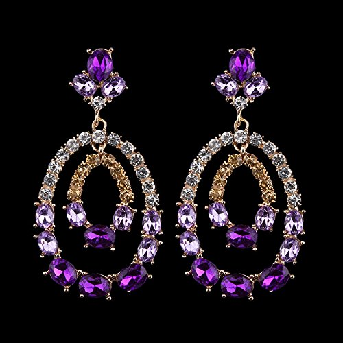Dvacaman Brand 2018 New Fashion Purple Rhinestone Bridal Earrings For Women Wedding Party Crystal Drop Dangle Earrings Gift TT56-in Drop Earrings