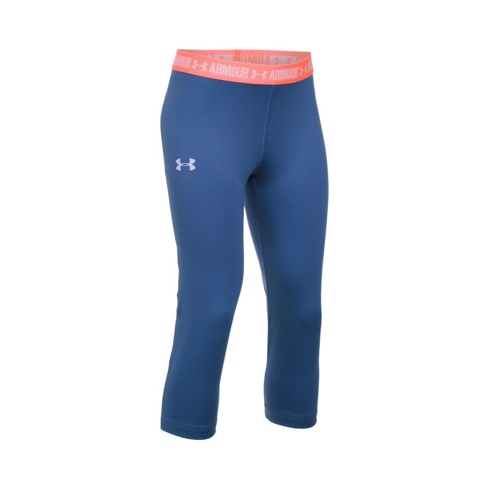 Under Armour Girls HeatGear Armour Solid Capri,Deep Periwinkle /Lavender Ice, Youth Small