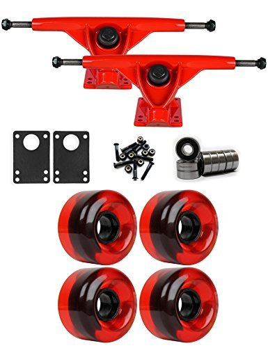 RKPレッドLongboardトラックホイールパッケージ62 mm x 40 mm 83 a 485 Cレッドクリア [並行輸入品]   B078WVMW39