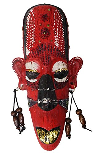 African Folk-Art - Red Colored Mask with Gold Metallic Accents - Home Décor