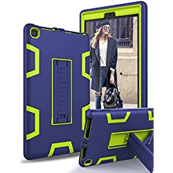 TIANLI All-New Amazon Kindle Fire HD 8 Tablet Case (7th Generation,2017 Release) - Sturdy Kickstand and Shockproof Protection and Heavy Duty for Kids,Blue Lemon Yellow