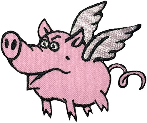 Papapatch Flying Pig Animal Wings Wild Hog Pet Sew on Iron on Embroidered Patch (Iron-Flying-Pig)]()