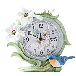 JOLLY Table Clock Personality Desk Clock Living Room Pastoral Clock Fashion Creative Decorative Clock Bedroom Mute Bell Seat Decoration