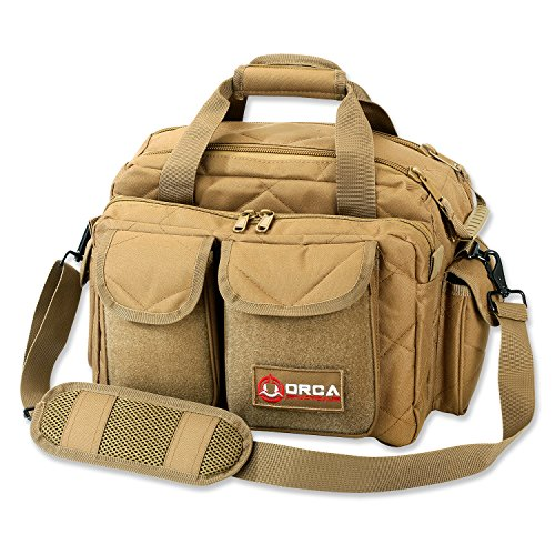 Orca Tactical Gun Shooting Range Bag Handgun Pistol Ammo Duffle Carrier (Coyote Brown)