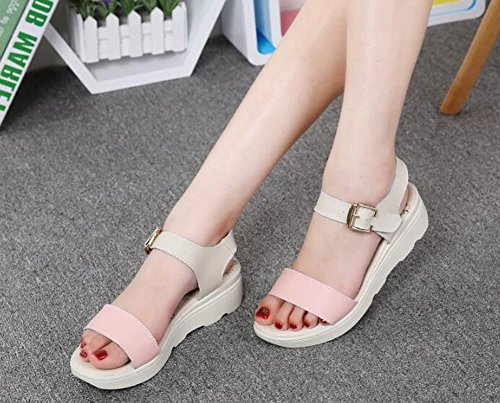 With YC Leather Comfortable Pink L Summer Shoes Bottom Flat Women 2017 Wild Sandals Thick Slope 4Cdqg