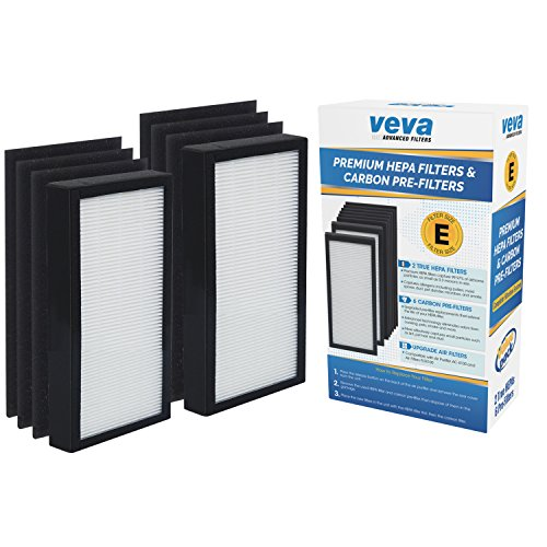 VEVA Premium 2 HEPA Filters and 6 Pack of Pre-Filters Compatible with Air Purifier Models AC4100 and Replacement FLT4100 Filter ()