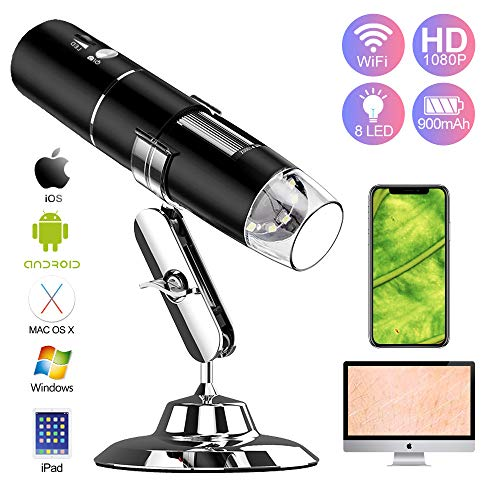 UMTELE WiFi Digital Microscope, 8 LED USB Mini Microscope with 2MP Camera and Metal Stand Compatible with iPhone Mac iPad Windows and Android