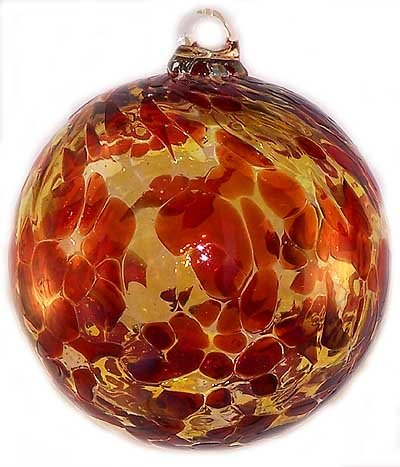 Friendship Ball Garnet Red & Gold Topaz 4 Inch Kugel Witch Ball by Iron Art Glass Designs by Iron Elegance