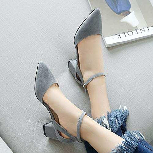 heels 40 Buckle Female Seasons Pink Thick Single Pointed Shoes Versatile Female Heels Shallow With Grey Mouth And Yukun High aqfx5pS