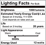 Boxlood 12W Motion Sensor Light Bulb, Outdoor/Indoor Movement Activated Security LED Bulb, 1000LM(100W Halogen Equivalent), A19, E26, 3000K Warm White for Front Door,Stairs,Porch-2PACK