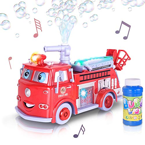 ArtCreativity Bubble Blowing Fire Engine Toy Truck for Kids | Awesome Light Up LED and Siren Effects | Bubble Solution and Funnel Included | Best Birthday for Boys and Girls