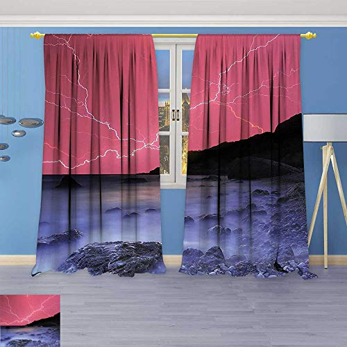 Philiphome Abstract Decor Curtains,Decor Thunderstorm Bolts with Vivid Colorful Sky Like Solar Lights Phenomenal Nature Picture,Living Room Bedroom Window Drapes 2 Panel (Bayview Solar Light)