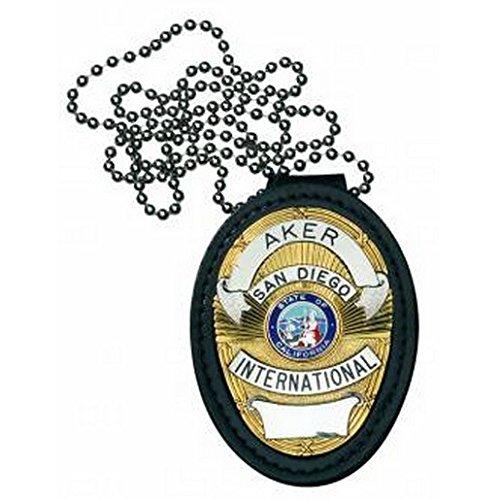 AKER A691-BP Recessed Badge Holder, Shield, Black