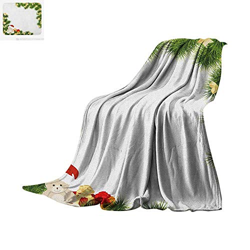 Kids Christmas Digital Printing Blanket Cute Teddy Bear on Evergreen Branches with Stars Bowties Surprise Boxes Oversized Travel Throw Cover Blanket 90