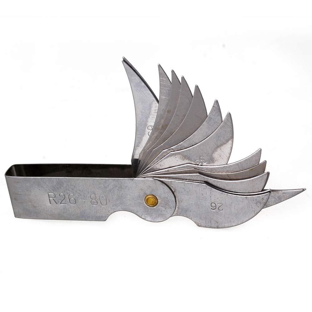 Silver Metal Radius Gage Gauge Fillet Set R1-6.5mm Folding Blade Measuring Tool