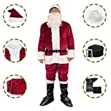 Bonng Dark Red Mens Deluxe Santa Suit 6pcs Christmas Adult Santa Claus Costume Holiday Outfit Santa Cosplay