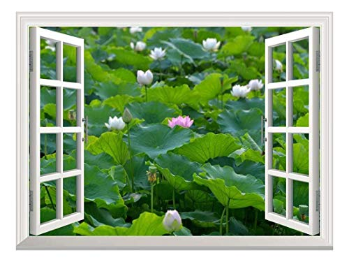 Removable Wall Sticker Wall Mural Lotus in a Pond Creative Window View Wall Decor