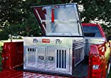 Owens Products, Model 55011, Dog Box for Hunting and Travel ~ Hunter Series Double Compartment Diamond Plate Aluminum Dog Crate, with Top Storage