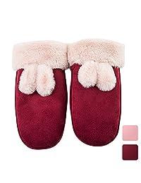 Kids Gloves, Caseeto Warm Fleece Lined Winter Snow Mitten for Girls