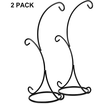Ornament Display Stand Holder Home Wedding Decoration Rack for Hanging Glass Globe Air Plant Flower Pot Stand Iron Pothook Stand Terrarium Witch Ball (Double Hook 2 Pack, Black) : Garden & Outdoor