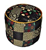 Lalhaveli Silk Patchwork Ottoman Cover for Room Decor 17 X 17 X 13 Inches