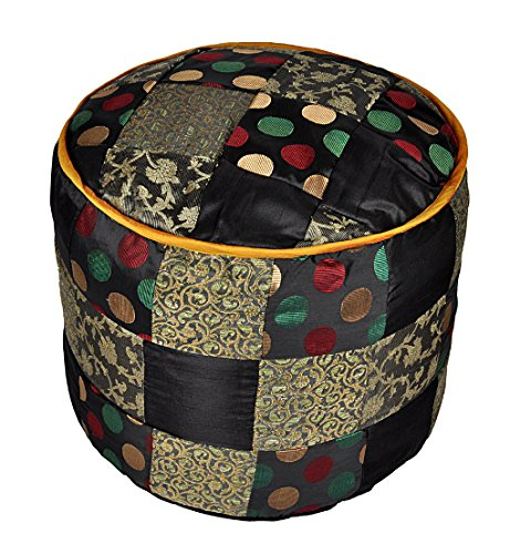 Lalhaveli Silk Patchwork Ottoman Cover Room Decor 17 X 17 X 13 Inches by Lalhaveli