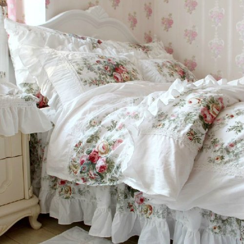 Vintage Floral Rose Bedding Set,Shabby Floral Country Style Bedding Set,White Lace Ruffle Bedding Sets