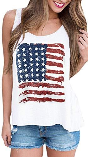 Women's July 4th Star Striped USA Flag Tank Tops Patriotic Cotton Sleeveless Shirt American XL