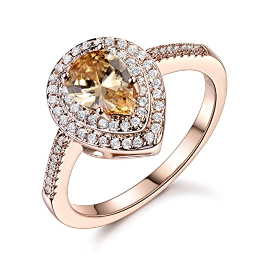 GULICX Rose gold Base Love Shape Wedding Party Citrine-color Rhinestone Women Ring Size 8 (Gold Ring Base)