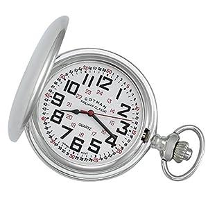 Gotham Men's Silver-Tone Railroad Polished Finish Covered Quartz Pocket Watch # GWC15044S