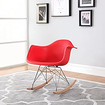 Delightful Modern Set Of 2 EAMES Style Rocking Armchair Natural Wood Legs In Color  White, Black And Red (Red)